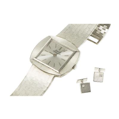 Piaget Rare Piaget 1970s 18kt White Gold Textured Diamond Wristwatch Cufflink Gift Set