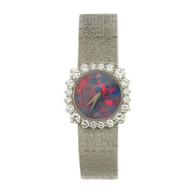 Piaget White Gold Piaget Watch with Rare Opal Dial and Unique Diamond Bezel