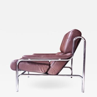Pieff Vintage Pieff Co Alpha Two Seat Sofa in Chrome and Brown Leather 1970s