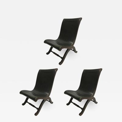 Pierre Lottier 3 Mid Century Modern Neoclassical Slipper Lounge Chairs Pierre Lottier 1940