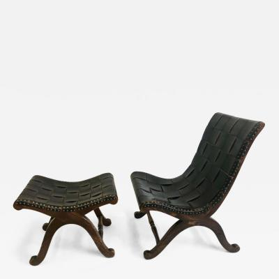 Pierre Lottier French Modern Neoclassical Leather Strap Chair and Ottoman Attr Pierre Lottier