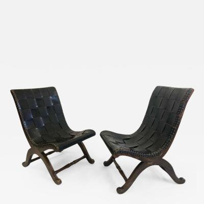 Pierre Lottier Pair of Modern Neoclassical Black Leather Strap Chairs Attributed Pierre Lottier