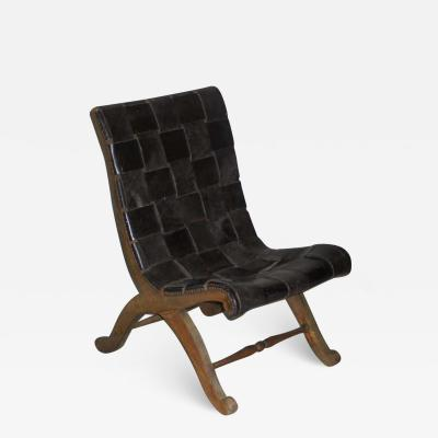 Pierre Lottier Spanish Modern Neoclassical Leather Strap Chair Attributed to Pierre Lottier