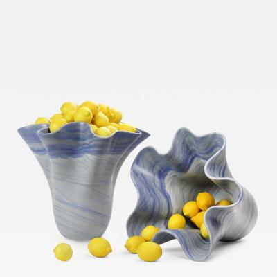 Pieruga Marble Big blue vase in Azul Macaubas marble carved by hand in Italy