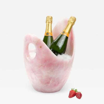 Pieruga Marble Champagne bucket ice bucket vase sculpture in rose quartz carved in Italy