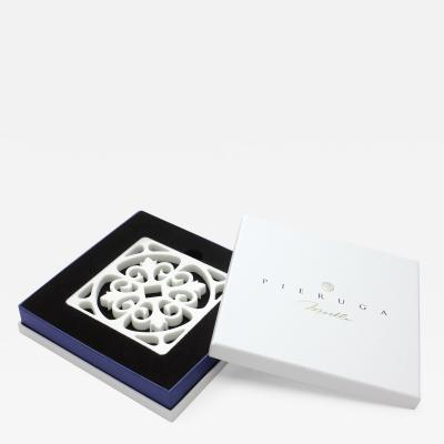 Pieruga Marble Coaster in White Carrara Marble by Pieruga Marble made in Italy