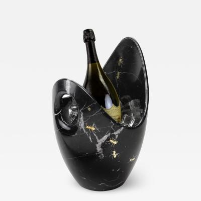 Pieruga Marble Luxurious Champagne Bucket Handmade in Black Marquinia Marble made in Italy
