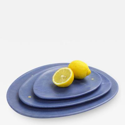 Pieruga Marble Set of plates in Azul Macaubas blue marble hand carved in Italy