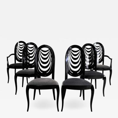 Pietro Costantini Black lacquer oval drape back dining chairs by pietro costantini for ello set 6