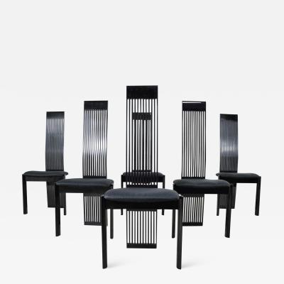 Pietro Costantini Six tripod post modern black lacquer dining chairs by pietro costantini