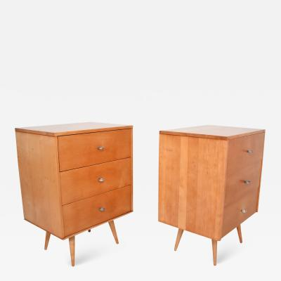 Planner Group Paul McCobb MAPLE Wood Lacquered Dressers with Silver Pulls 1950s USA a Pair
