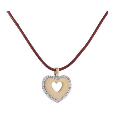 Poiray Paris Poiray Paris Diamond Gold and Leather Cord Heart Pendant