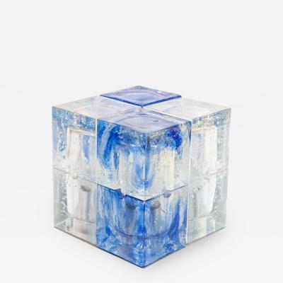Poliarte 1960S MURANO ITALIAN DESIGN BY POLIARTE CUBE LAMP BLUE AND FROSTED CLEAR GLASS