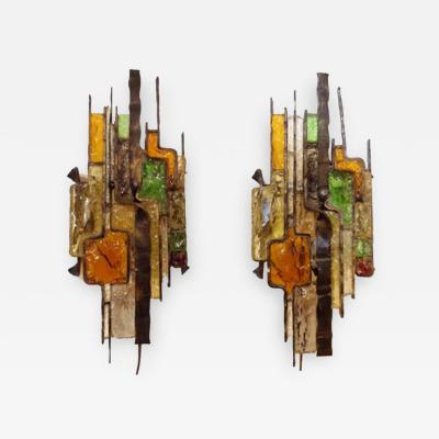 Poliarte A Pair of Wall Sconces in Steel and Glass in the style of Poliarte