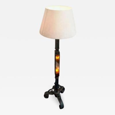 Poliarte Brutalist Floor Lamp in Iron and Glass