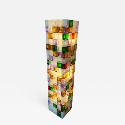 Poliarte Floor Lamp Glass Cube by Poliarte Italy 1970s