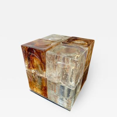 Poliarte Glass Cube Lamp by Poliarte Italy 1970s