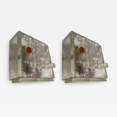 Poliarte Pair of Apis Glass Cube Sconces by Poliarte Italy 1970s
