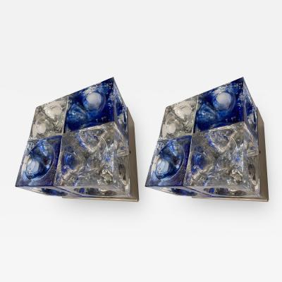 Poliarte Pair of Blue Glass Cube Sconces by Poliarte Italy 1970s