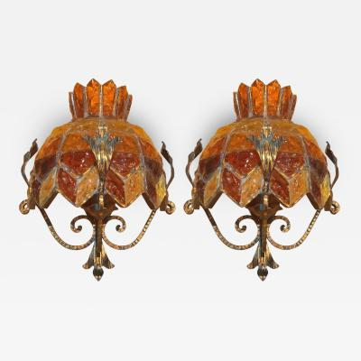 Poliarte Pair of Brass and Glass Sconces by Poliarte Two Pair Available
