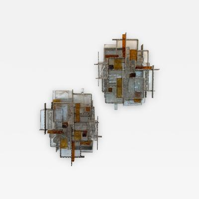 Poliarte Pair of Cratere Sconces Hammered Metal Glass by Poliarte Italy 1970s