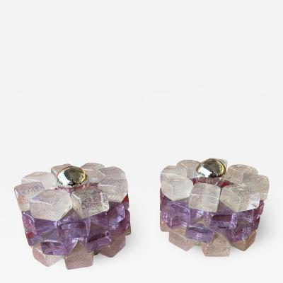Poliarte Pair of Glass Cube Lamps by Poliarte Italy 1970s
