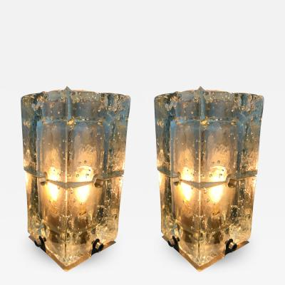 Poliarte Pair of Lamps Glass by Poliarte Italy 1970s