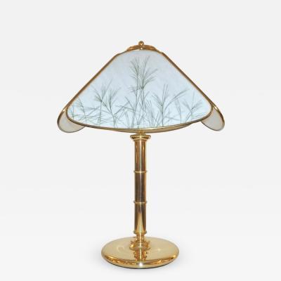 Poliarte Poliarte 1960s Italian Feather Reed Grass Decor Cream White Glass Brass Lamp