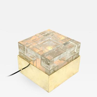 Poliarte Poliarte Italian Cast Clear Glass and Brass Table Lamp Designed by Albano Poli