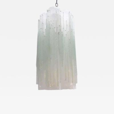 Poliarte Vintage Pendant w Frosted Murano Glass Tubes Designed by Poliarte 1970s