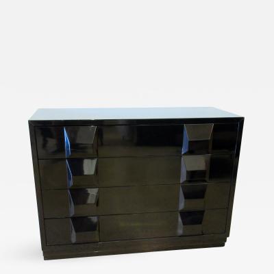Poltronova Italian Modern Black Lacquered Dresser Poltronova 1960s