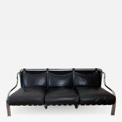 Poltronova Mid Century Modern Black Stringa Sofa Designed by Gae Aulenti for Poltronova