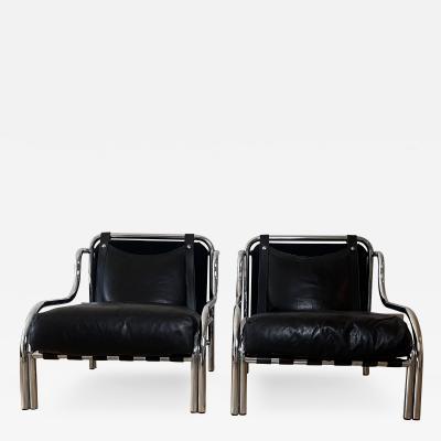 Poltronova Mid Century Modern Pair of Black Stringa Armchairs Designed by Gae Aulenti