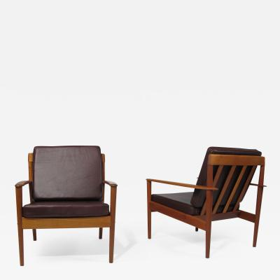Poul Jeppesen Grete Jalk Teak Lounge Chairs in Brown Leather