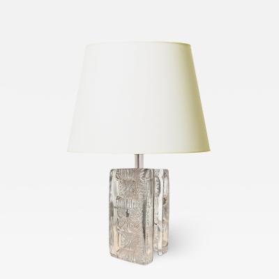 Pukeberg Brutalist Table Lamp in Glass by Pukeberg