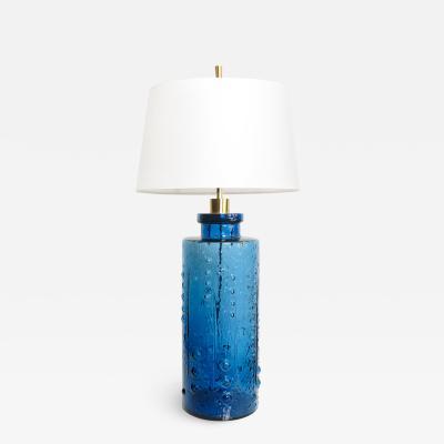 Pukeberg DEEP BLUE SCANDINAVIAN MODERN GLASS LAMP BY PUKEBERG GLASBRUK