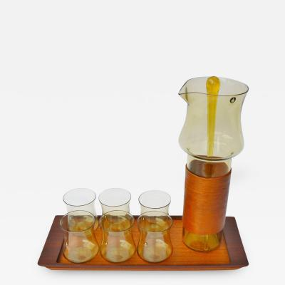 Pukeberg Goran Warff Pukeberg Amber Glass Pitcher Six Glasses Stir Stick Teak Tray