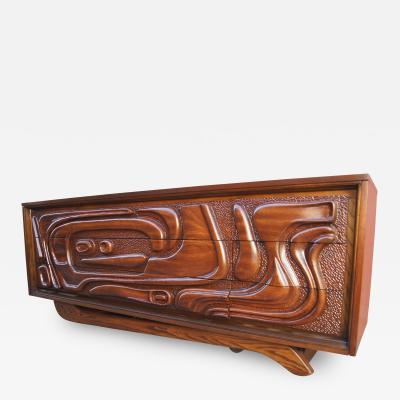Pulaski Furniture Corporation Lacquered Walnut Oceanic Series Low Dresser by Pulaski Furniture