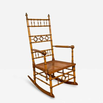 R J Horner Co Aesthetic Movement Faux Bamboo Rocking Chair Attributed to R J Horner Co