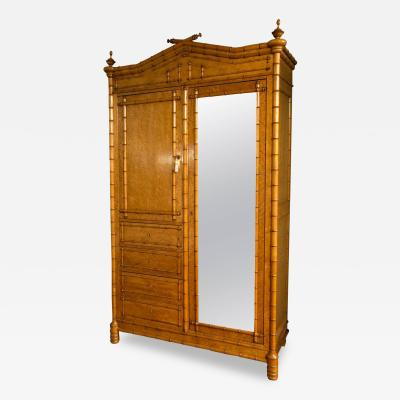 R J Horner Co Aesthetic Movement Maple Faux Bamboo Armoire Attributed to R J Horner Co