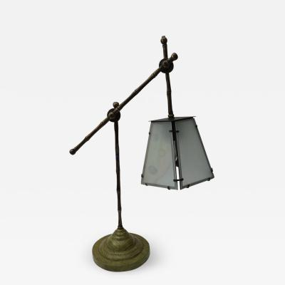 R Y Augousti Art Deco Style R Y Augousti of Paris Table Lamp in Bronze and Green Lizard