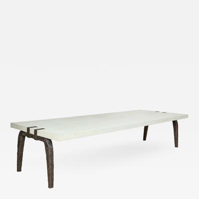 R Y Augousti Bronze and Shagreen Monumental Table by R Y Augousti