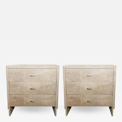 R Y Augousti Pair of Natural Shagreen 3 Drawer Nightstands