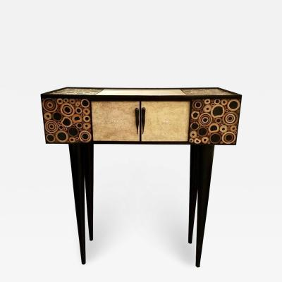R Y Augousti R Y Augousti Black and Ivory Shagreen and Bamboo Console