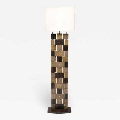 R Y Augousti R Y Augousti Floor Lamp Shagreen Alligator Lizard and Mahogany Wood