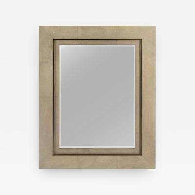 R Y Augousti Taupe Shagreen Double Stepped Framed Mirror By R Y Augousti