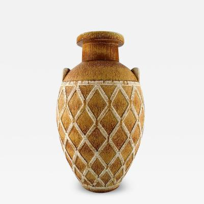 R rstrand Colossal unique floor vase with geometric pattern in glazed stoneware
