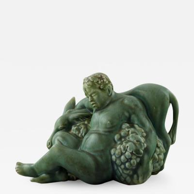 R rstrand Harald Salomon for R rstrand green glazed pottery figure of bacchus and donkey
