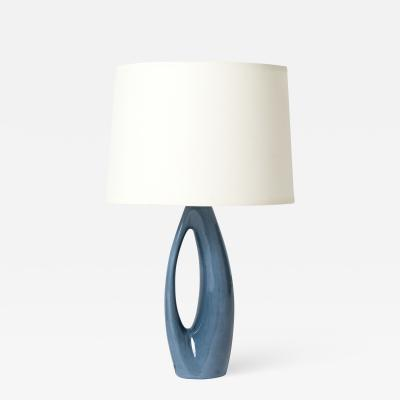 R rstrand Midcentury Blue Ceramic Table Lamp by R rstrand