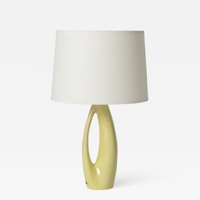 R rstrand Midcentury Yellow Ceramic Table Lamp by R rstrand